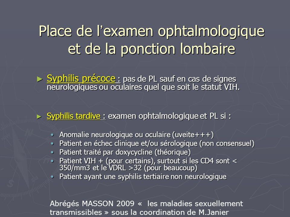 Place de l examen ophtalmologique et de la ponction lombaire Syphilis précoce : pas de PL sauf en cas de signes neurologiques ou oculaires quel que so