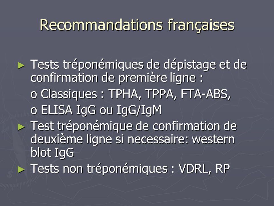 Recommandations françaises Tests tréponémiques de dépistage et de confirmation de première ligne : Tests tréponémiques de dépistage et de confirmation