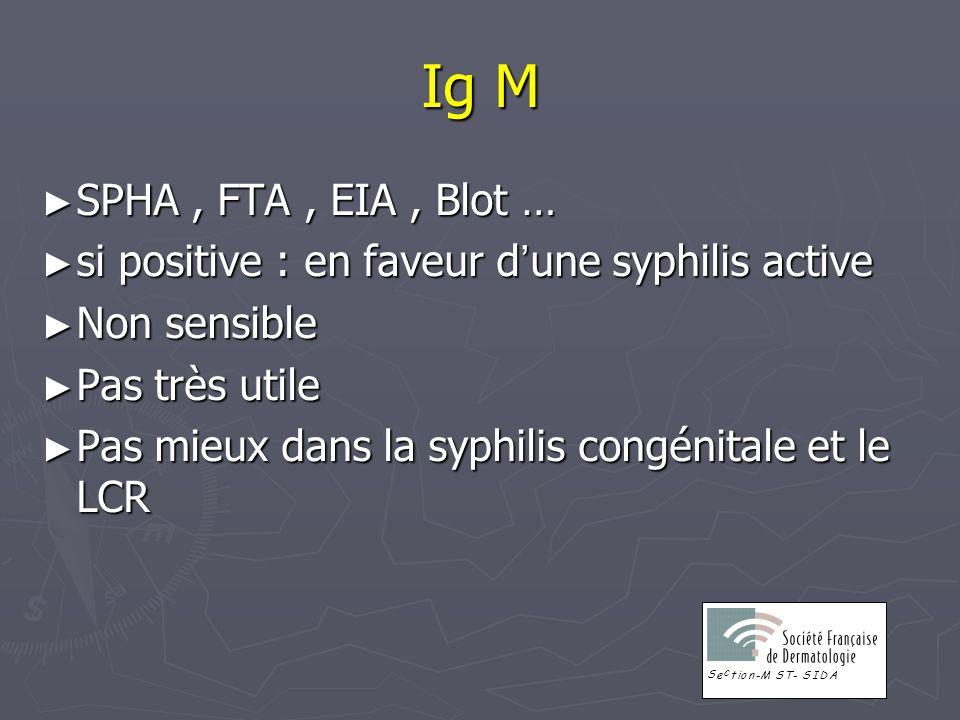 Ig M SPHA, FTA, EIA, Blot … SPHA, FTA, EIA, Blot … si positive : en faveur d une syphilis active si positive : en faveur d une syphilis active Non sen