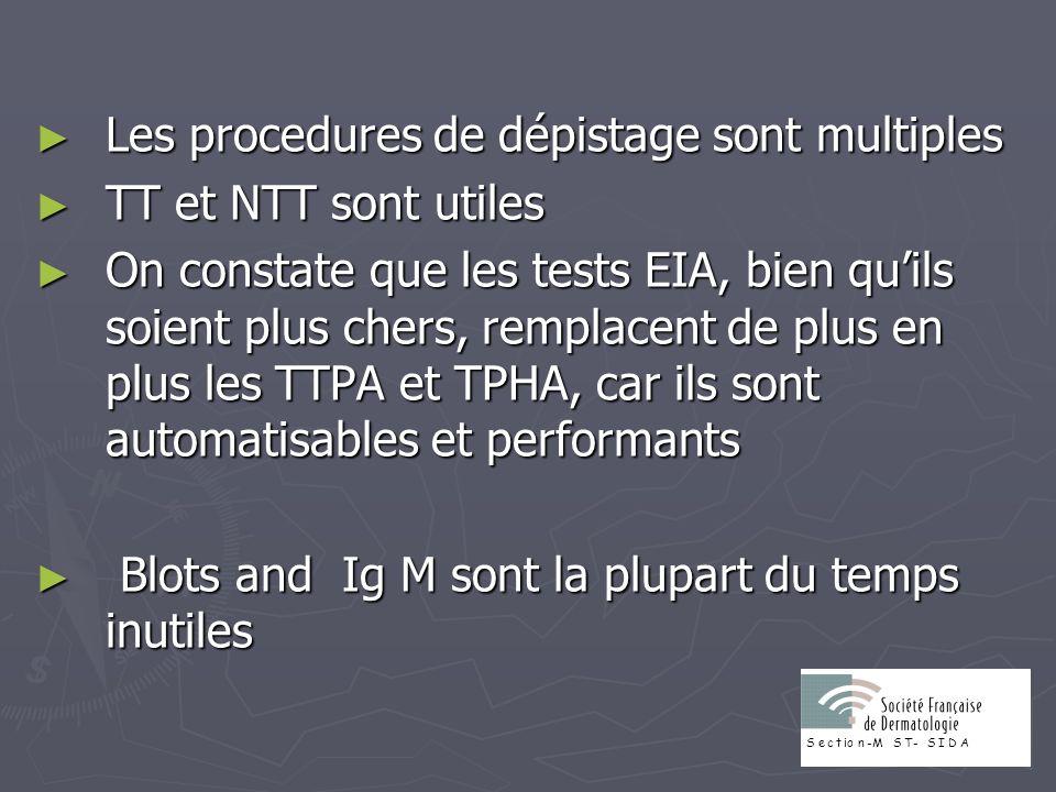 Les procedures de dépistage sont multiples Les procedures de dépistage sont multiples TT et NTT sont utiles TT et NTT sont utiles On constate que les