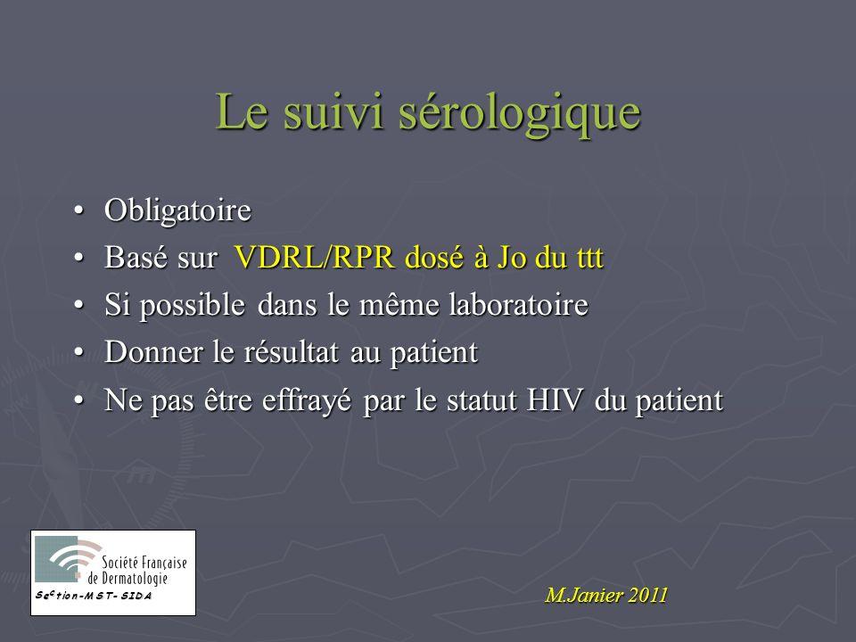 Le suivi sérologique ObligatoireObligatoire Basé sur VDRL/RPR dosé à Jo du tttBasé sur VDRL/RPR dosé à Jo du ttt Si possible dans le même laboratoireS