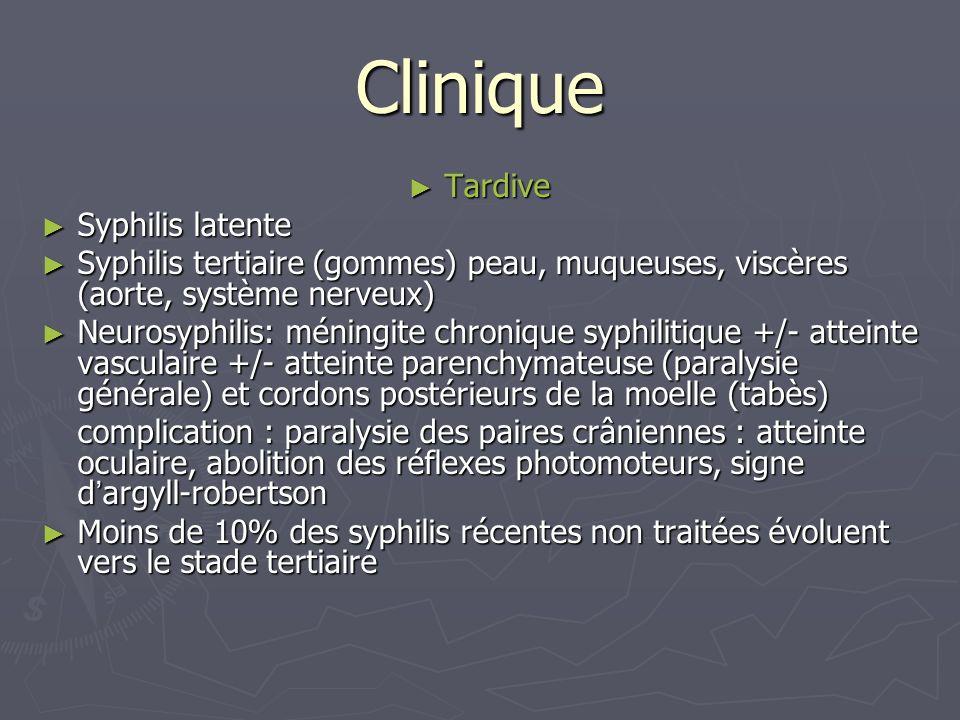 Clinique Tardive Tardive Syphilis latente Syphilis latente Syphilis tertiaire (gommes) peau, muqueuses, viscères (aorte, système nerveux) Syphilis ter