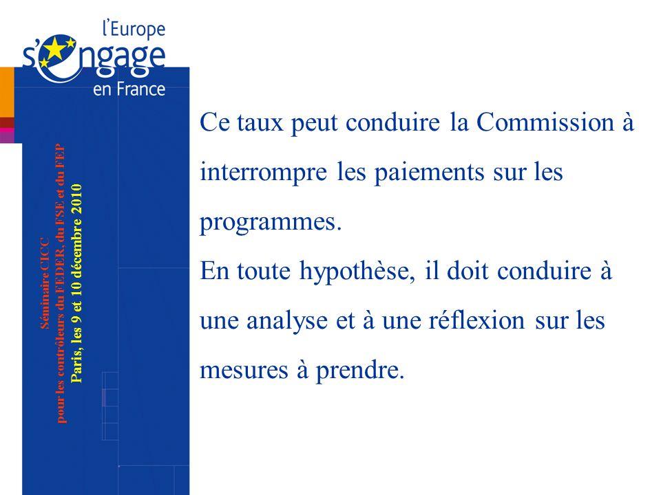 Séminaire CICC pour les contrôleurs du FEDER, du FSE et du FEP Paris, les 9 et 10 décembre 2010 Ce taux peut conduire la Commission à interrompre les paiements sur les programmes.