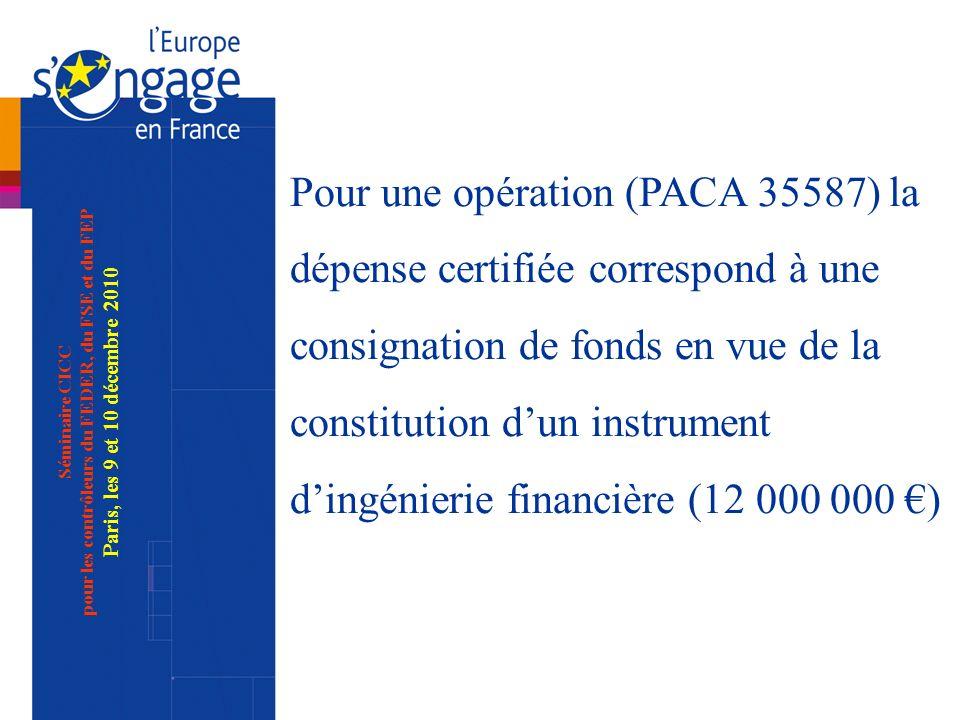 Séminaire CICC pour les contrôleurs du FEDER, du FSE et du FEP Paris, les 9 et 10 décembre 2010 Pour une opération (PACA 35587) la dépense certifiée correspond à une consignation de fonds en vue de la constitution dun instrument dingénierie financière (12 000 000 )