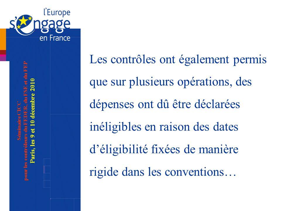 Séminaire CICC pour les contrôleurs du FEDER, du FSE et du FEP Paris, les 9 et 10 décembre 2010 Les contrôles ont également permis que sur plusieurs opérations, des dépenses ont dû être déclarées inéligibles en raison des dates déligibilité fixées de manière rigide dans les conventions…