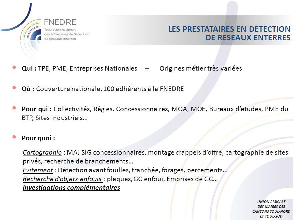 Qui : TPE, PME, Entreprises Nationales -- Origines métier très variées Où : Couverture nationale, 100 adhérents à la FNEDRE Pour qui : Collectivités,