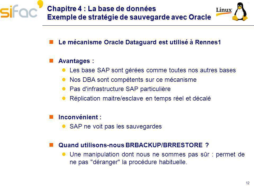 12 Chapitre 4 : La base de données Exemple de stratégie de sauvegarde avec Oracle Le mécanisme Oracle Dataguard est utilisé à Rennes1 Avantages : Les
