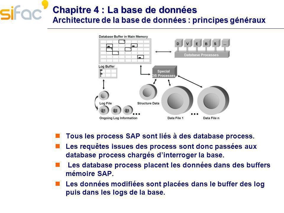 Chapitre 4 : La base de données Architecture de la base de données : principes généraux Tous les process SAP sont liés à des database process. Les req