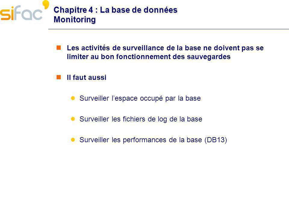 Chapitre 4 : La base de données Monitoring Les activités de surveillance de la base ne doivent pas se limiter au bon fonctionnement des sauvegardes Il