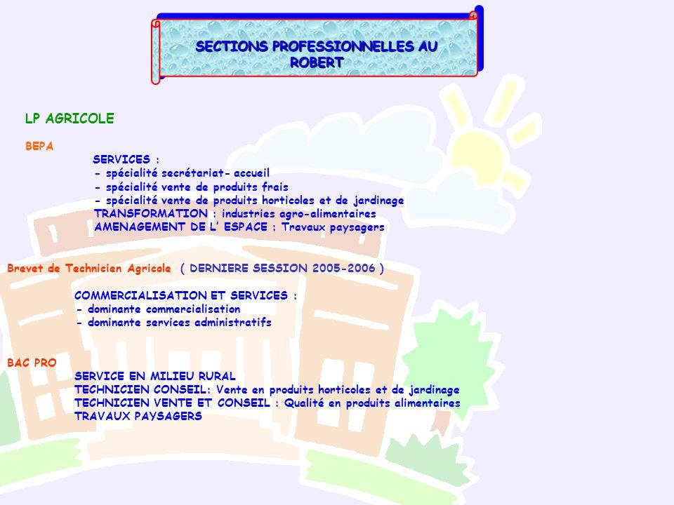 SECTIONS PROFESSIONNELLES AU ROBERT LP AGRICOLE BEPA SERVICES : - spécialité secrétariat- accueil - spécialité vente de produits frais - spécialité ve