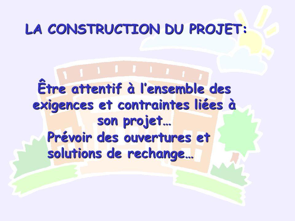 Être attentif à lensemble des exigences et contraintes liées à son projet… Prévoir des ouvertures et solutions de rechange… LA CONSTRUCTION DU PROJET:
