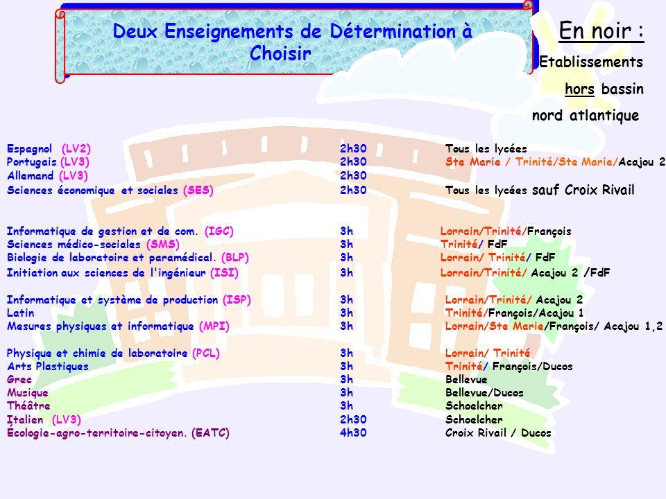 Deux Enseignements de Détermination à Choisir Espagnol (LV2)2h30 Tous les lycées Portugais (LV3) 2h30 Ste Marie / Trinité/Ste Marie/Acajou 2 Allemand