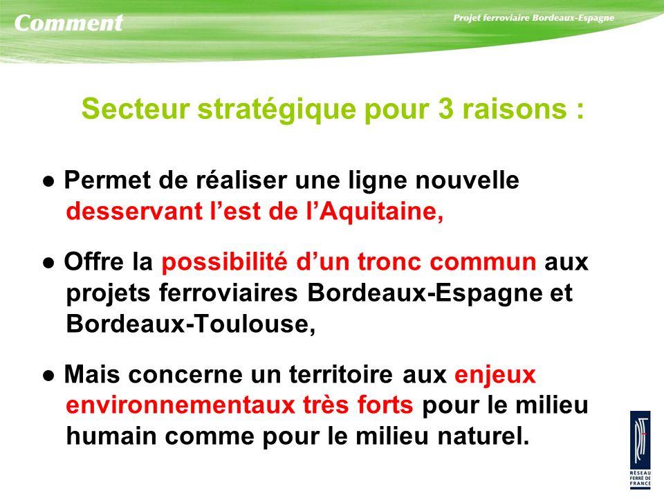 Secteur stratégique pour 3 raisons : Permet de réaliser une ligne nouvelle desservant lest de lAquitaine, Offre la possibilité dun tronc commun aux pr