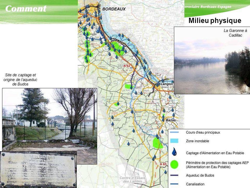 Milieu physique Site de captage et origine de laqueduc de Budos La Garonne à Cadillac