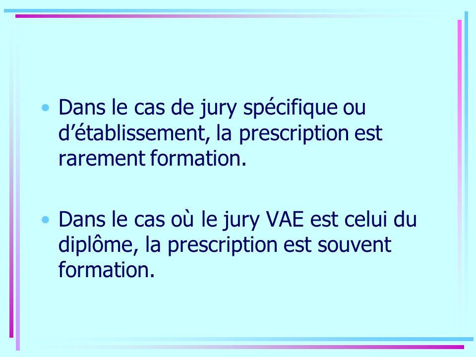 Dans le cas de jury spécifique ou détablissement, la prescription est rarement formation. Dans le cas où le jury VAE est celui du diplôme, la prescrip