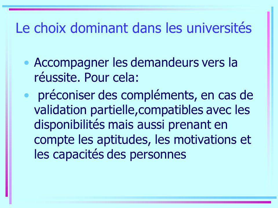 Le choix dominant dans les universités Accompagner les demandeurs vers la réussite. Pour cela: préconiser des compléments, en cas de validation partie