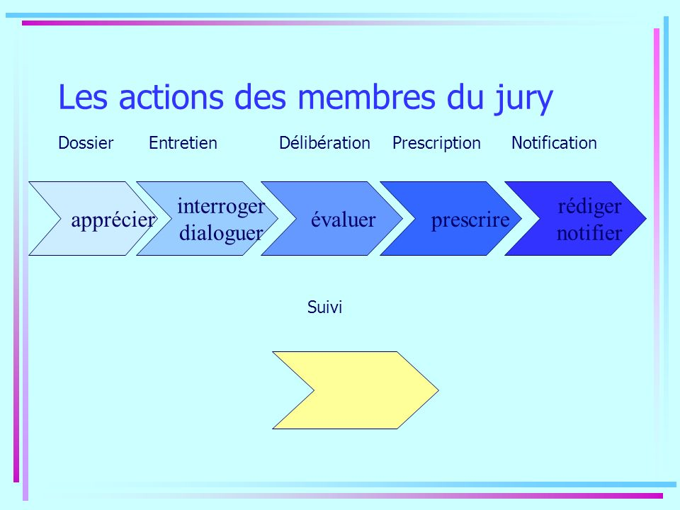 Les actions des membres du jury Dossier apprécier interroger dialoguer évaluer prescrire rédiger notifier Entretien Délibération Prescription Notifica