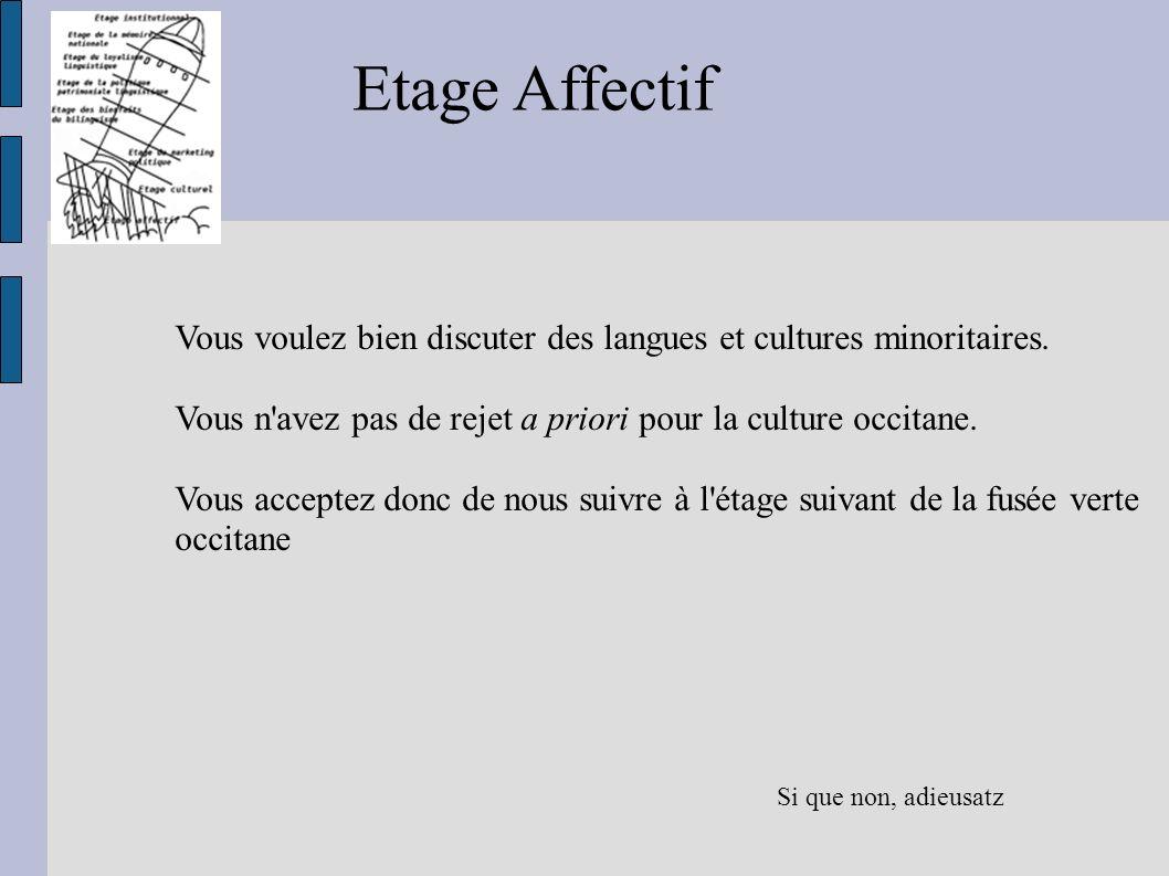 Etage Affectif Vous voulez bien discuter des langues et cultures minoritaires. Vous n'avez pas de rejet a priori pour la culture occitane. Vous accept
