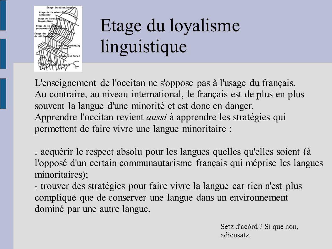 Etage du loyalisme linguistique Setz d'acòrd ? Si que non, adieusatz L'enseignement de l'occitan ne s'oppose pas à l'usage du français. Au contraire,