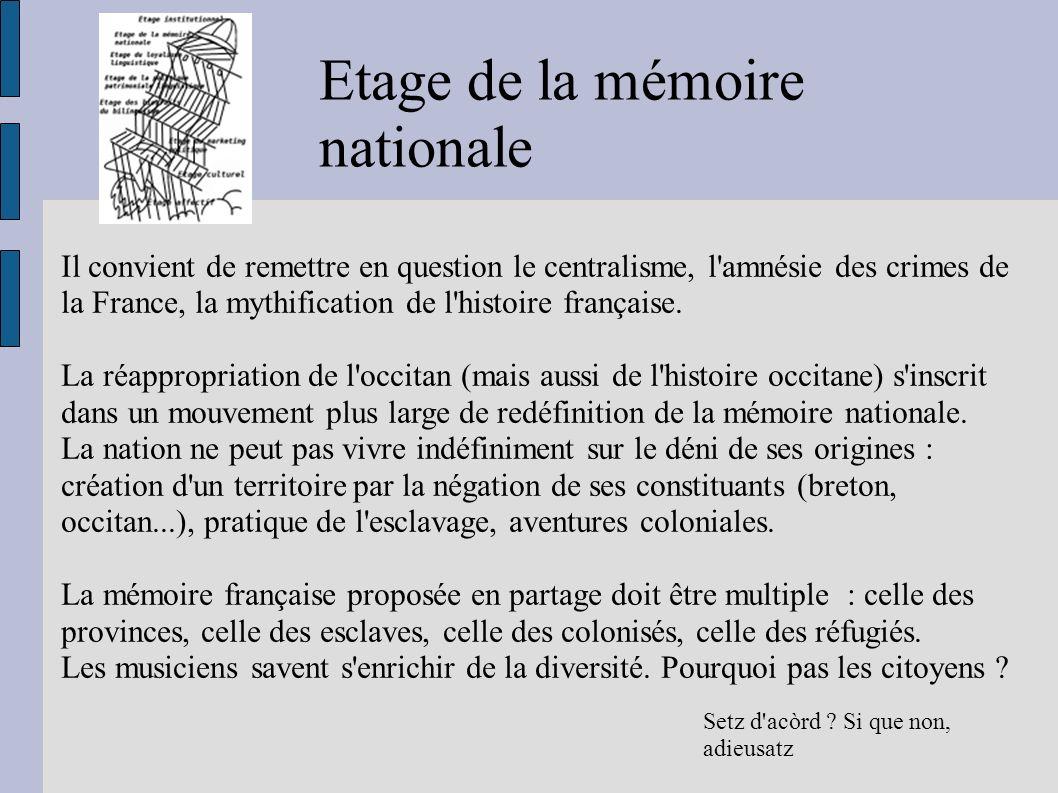 Etage de la mémoire nationale Setz d acòrd .