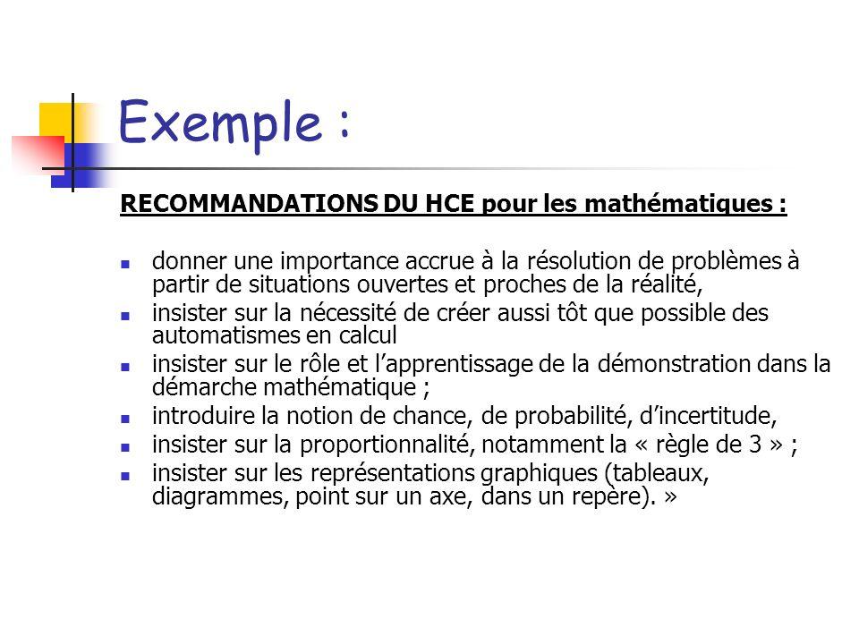 Exemple : RECOMMANDATIONS DU HCE pour les mathématiques : donner une importance accrue à la résolution de problèmes à partir de situations ouvertes et