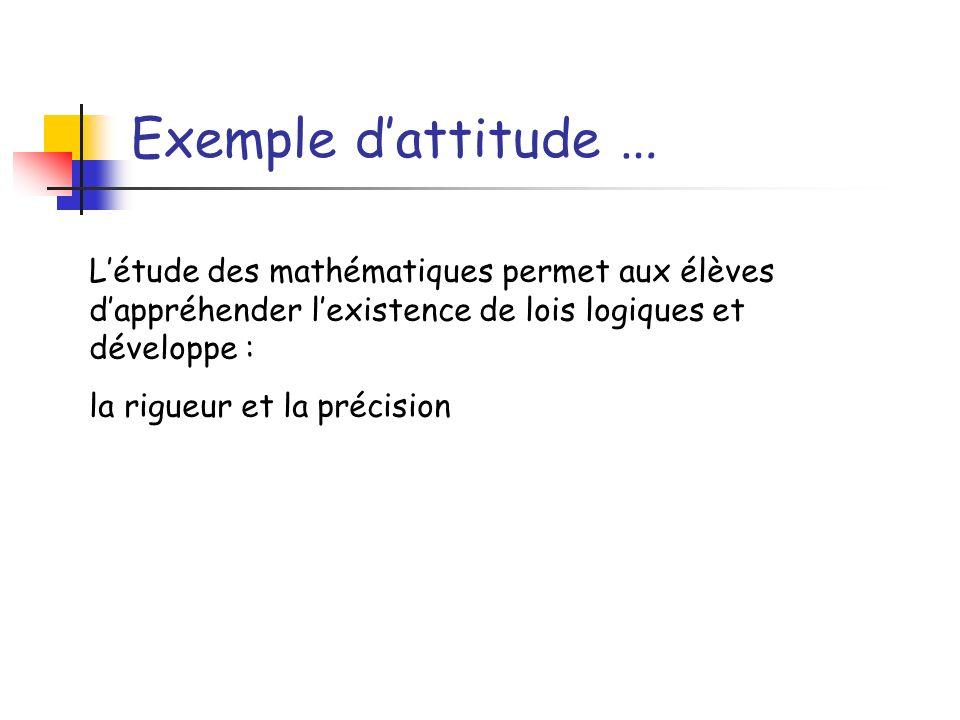 Exemple dattitude … Létude des mathématiques permet aux élèves dappréhender lexistence de lois logiques et développe : la rigueur et la précision