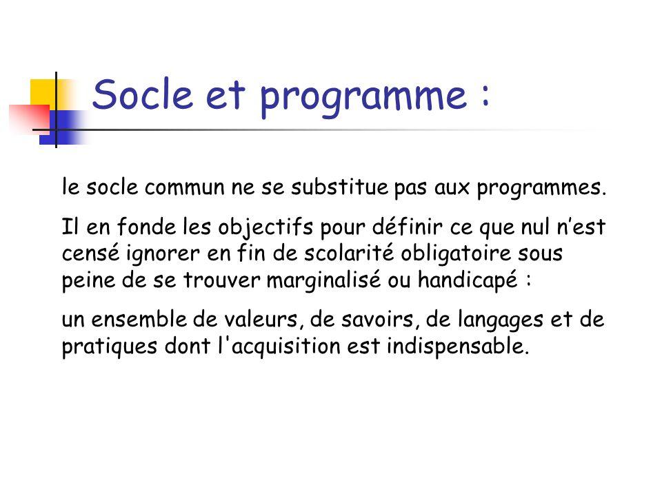 Socle et programme : le socle commun ne se substitue pas aux programmes. Il en fonde les objectifs pour définir ce que nul nest censé ignorer en fin d