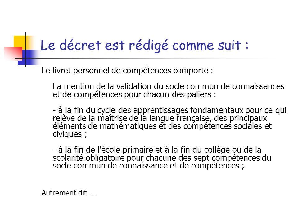 Le décret est rédigé comme suit : Le livret personnel de compétences comporte : La mention de la validation du socle commun de connaissances et de com