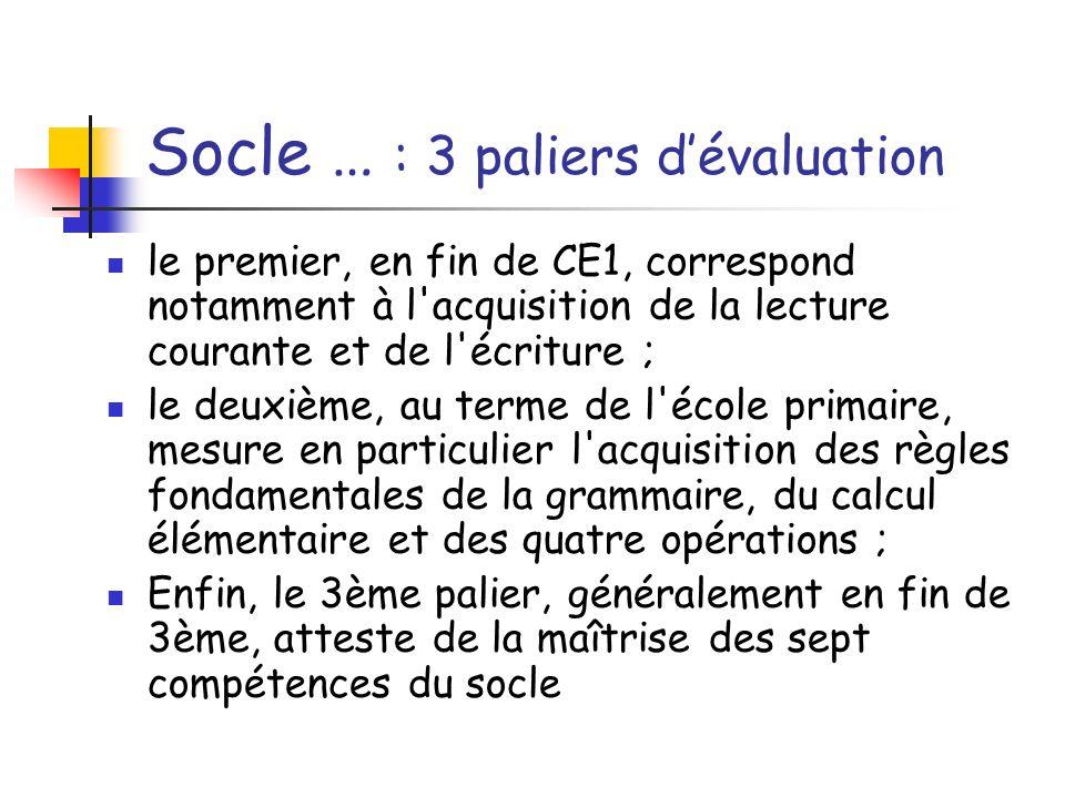 Socle … : 3 paliers dévaluation le premier, en fin de CE1, correspond notamment à l'acquisition de la lecture courante et de l'écriture ; le deuxième,