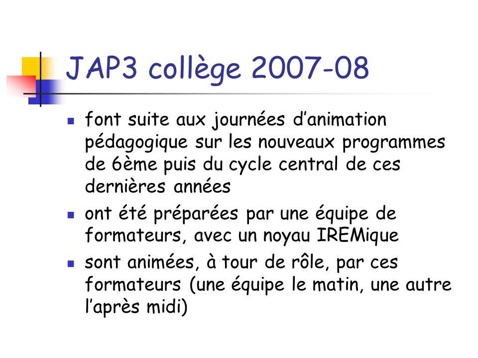 JAP3 collège 2007-08 Sont centrées sur deux thèmes : Le socle commun de connaissances et de compétences Les nouveaux programmes de troisième Sadressent aux 2/3 des enseignants de mathématiques de collège Sont organisées sur 10 journées (deux journées possibles par collège)