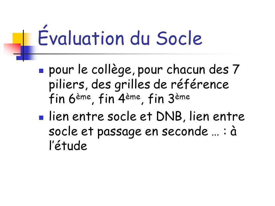Évaluation du Socle pour le collège, pour chacun des 7 piliers, des grilles de référence fin 6 ème, fin 4 ème, fin 3 ème lien entre socle et DNB, lien