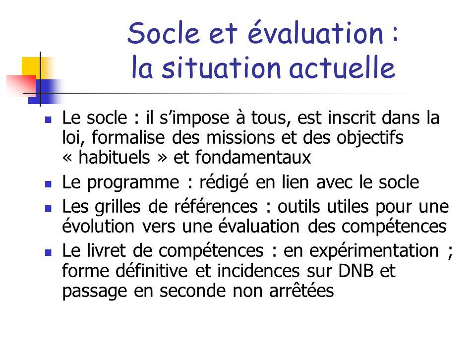 Socle et évaluation : la situation actuelle Le socle : il simpose à tous, est inscrit dans la loi, formalise des missions et des objectifs « habituels