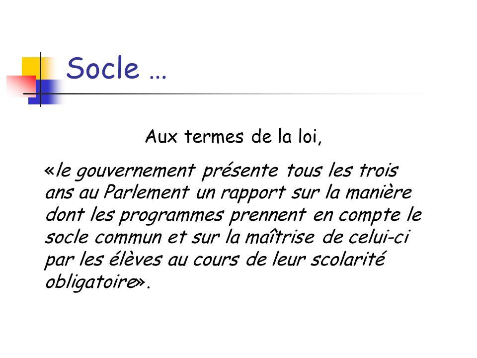 Socle … Aux termes de la loi, «le gouvernement présente tous les trois ans au Parlement un rapport sur la manière dont les programmes prennent en comp