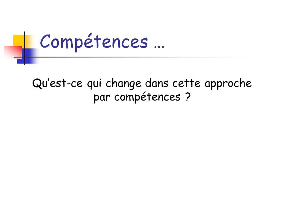 Compétences … Quest-ce qui change dans cette approche par compétences ?