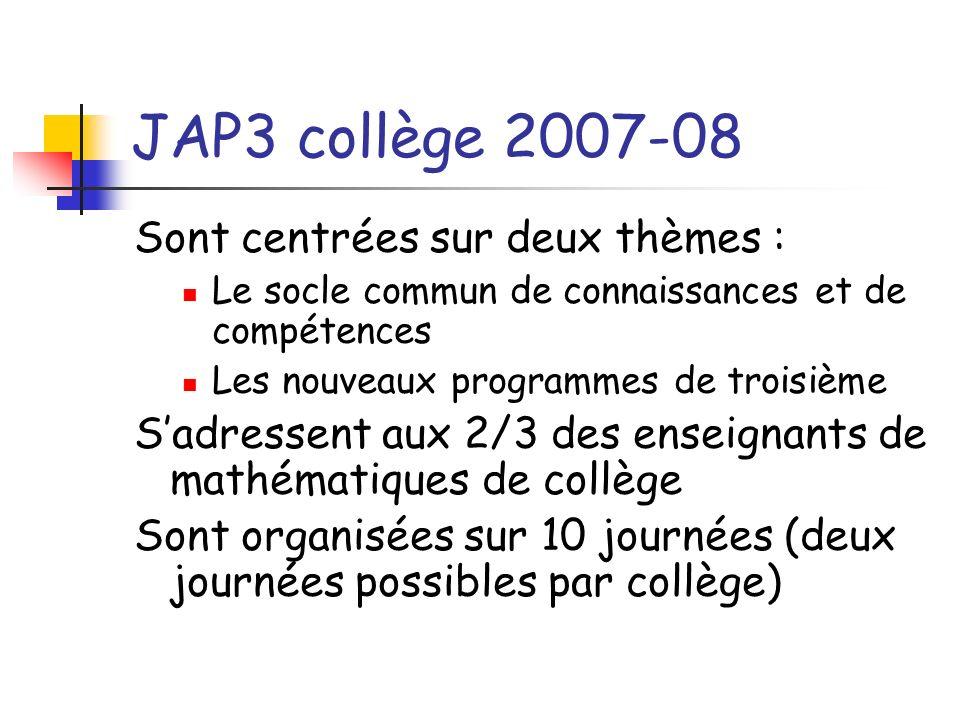 JAP3 collège 2007-08 : le programme de la journée Introduction aux journées avec présentation du socle et des PPRE Matin centré sur socle Après midi centré sur programme Repas, horaire …