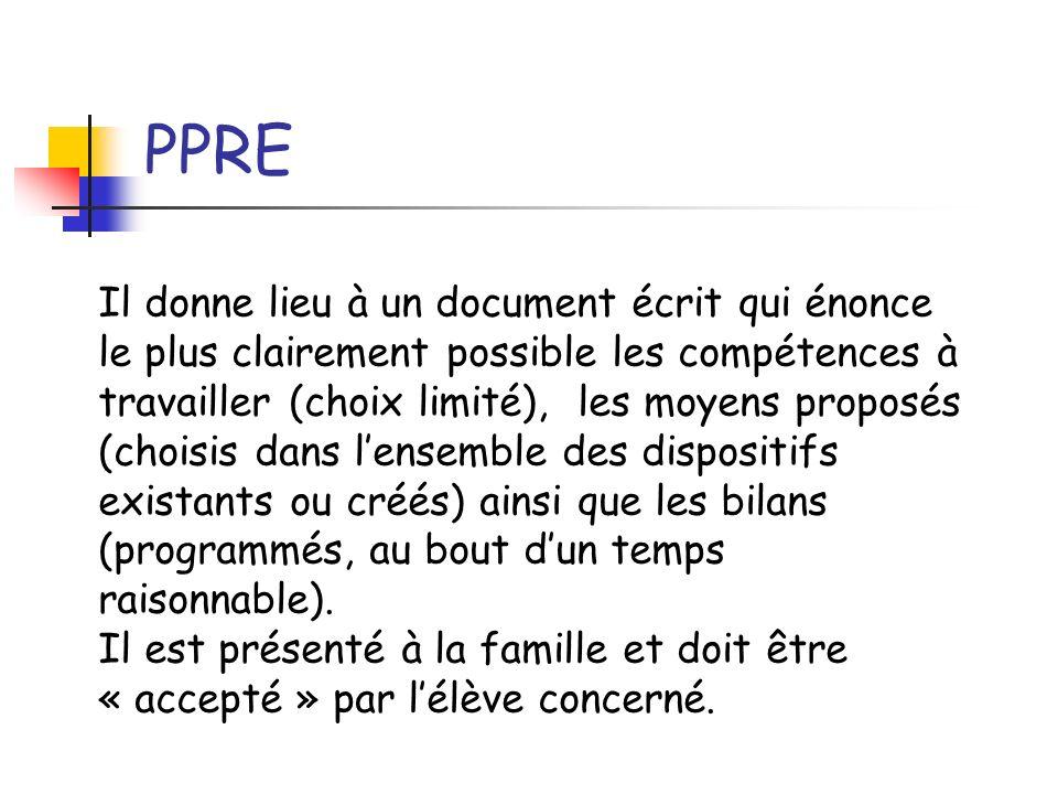PPRE Il donne lieu à un document écrit qui énonce le plus clairement possible les compétences à travailler (choix limité), les moyens proposés (choisi