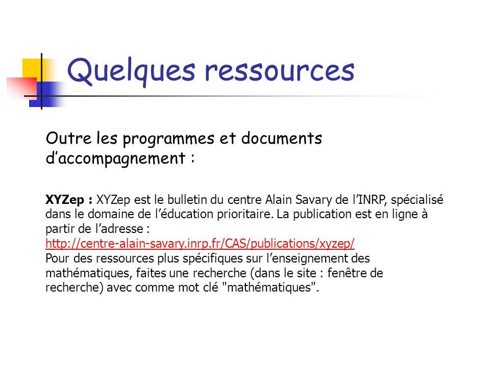 Quelques ressources Outre les programmes et documents daccompagnement : XYZep : XYZep est le bulletin du centre Alain Savary de lINRP, spécialisé dans