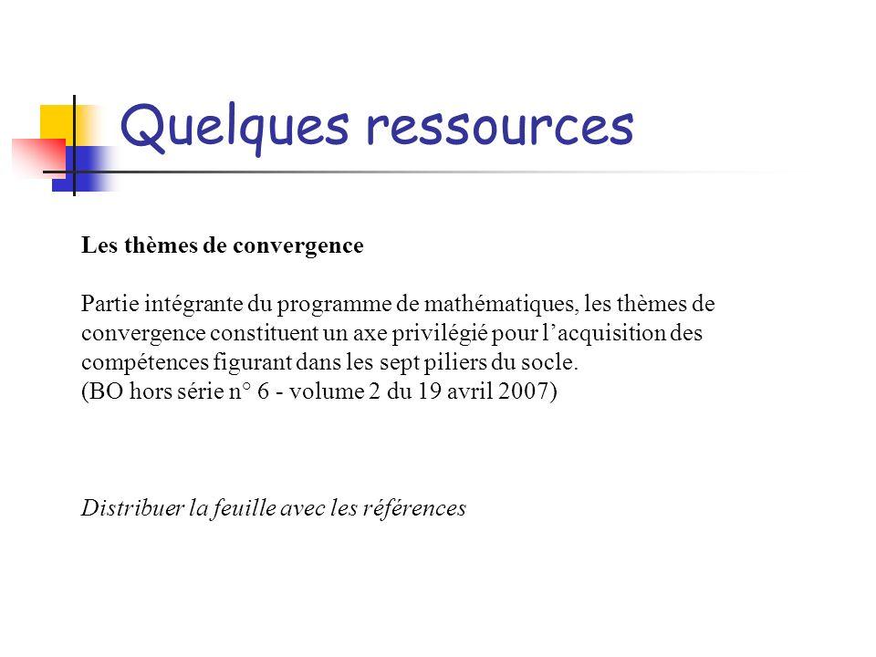 Quelques ressources Les thèmes de convergence Partie intégrante du programme de mathématiques, les thèmes de convergence constituent un axe privilégié