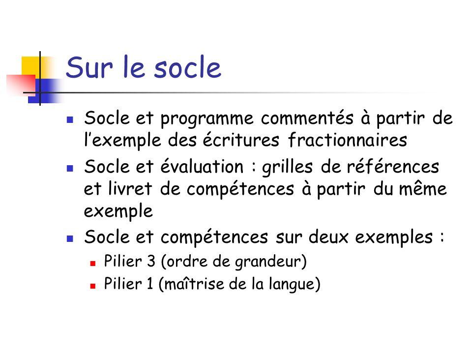 Sur le socle Socle et programme commentés à partir de lexemple des écritures fractionnaires Socle et évaluation : grilles de références et livret de c