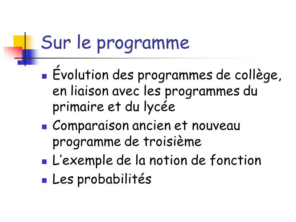 Sur le programme Évolution des programmes de collège, en liaison avec les programmes du primaire et du lycée Comparaison ancien et nouveau programme d