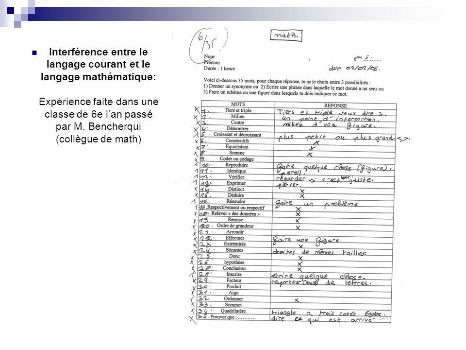 Interférence entre le langage courant et le langage mathématique: Expérience faite dans une classe de 6e lan passé par M. Bencherqui (collègue de math