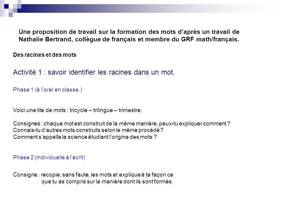Une proposition de travail sur la formation des mots daprès un travail de Nathalie Bertrand, collègue de français et membre du GRF math/français. Des