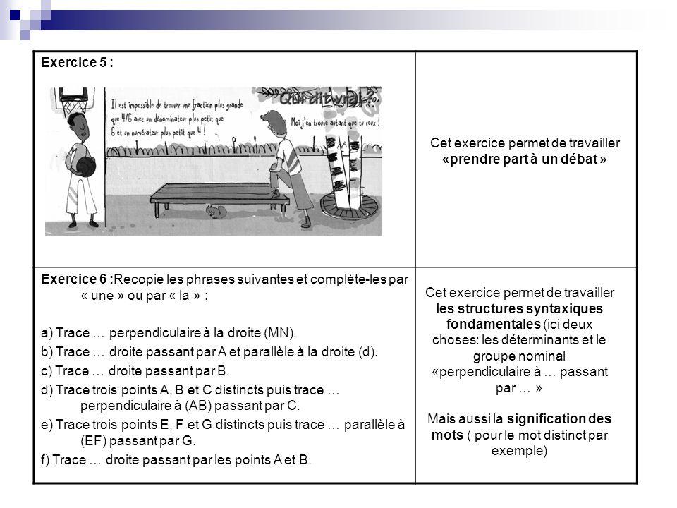 Exercice 5 : Exercice 6 :Recopie les phrases suivantes et complète-les par « une » ou par « la » : a) Trace … perpendiculaire à la droite (MN). b) Tra