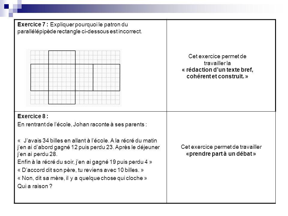 Exercice 7 : Expliquer pourquoi le patron du parallélépipède rectangle ci-dessous est incorrect. Exercice 8 : En rentrant de lécole, Johan raconte à s