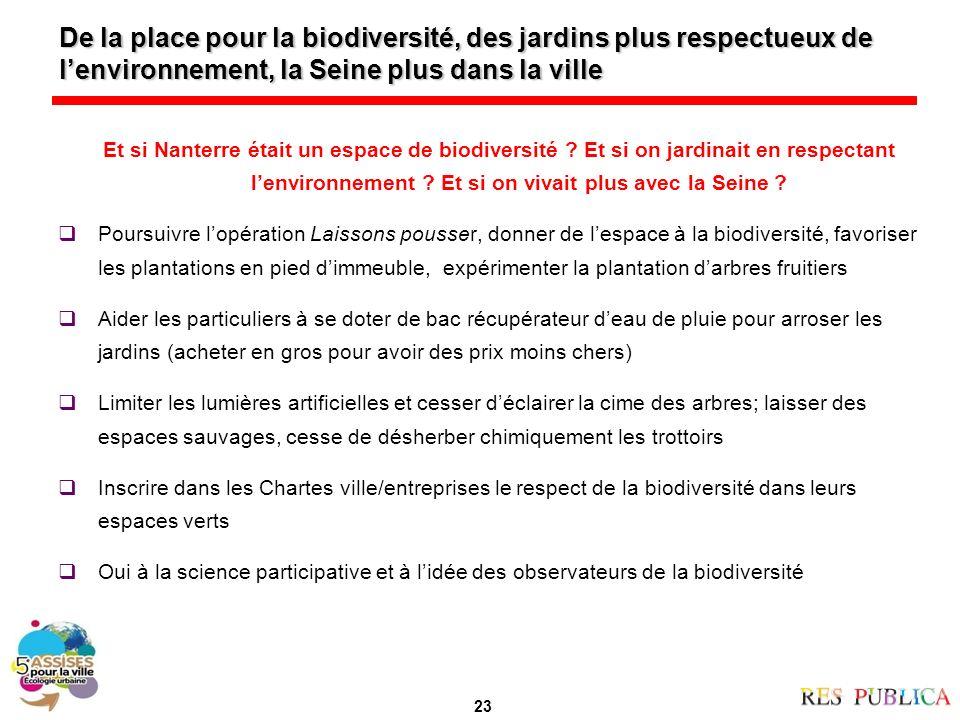 De la place pour la biodiversité, des jardins plus respectueux de lenvironnement, la Seine plus dans la ville Et si Nanterre était un espace de biodiversité .