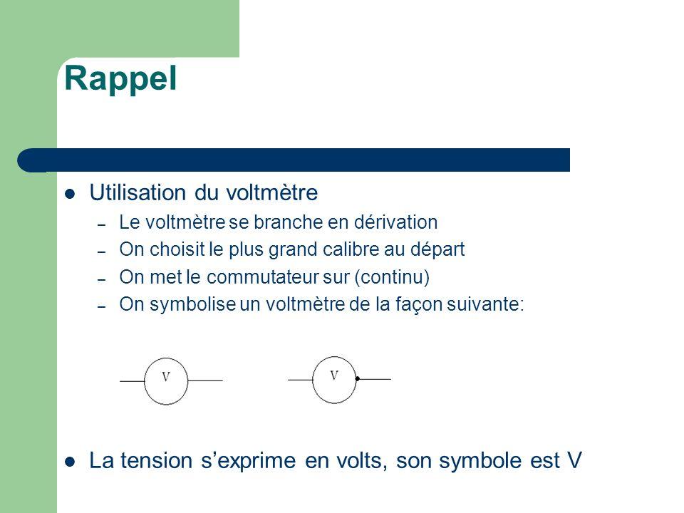 I- Mesure de la tension aux bornes dun dipôle branché dans un circuit en série On a réalisé en manipulation le circuit suivant : On a mesurer les tensions aux bornes de chaque dipôles.