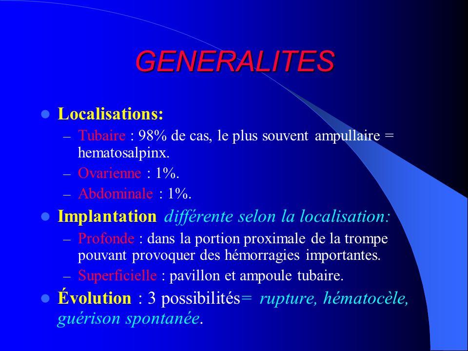 GENERALITES Localisations: – Tubaire : 98% de cas, le plus souvent ampullaire = hematosalpinx. – Ovarienne : 1%. – Abdominale : 1%. Implantation diffé