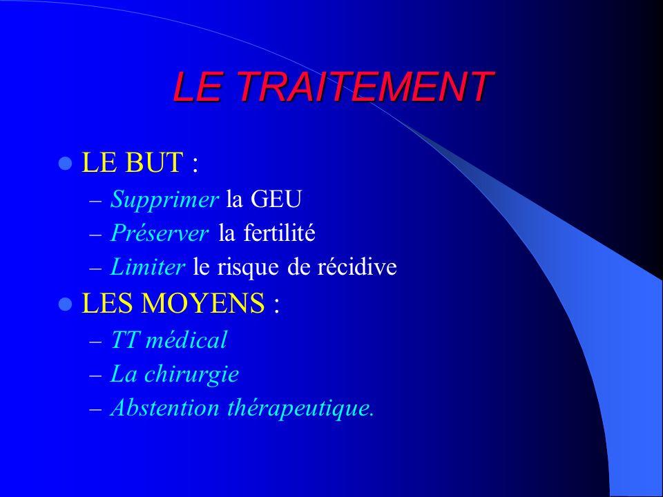LE TRAITEMENT LE BUT : – Supprimer la GEU – Préserver la fertilité – Limiter le risque de récidive LES MOYENS : – TT médical – La chirurgie – Abstenti
