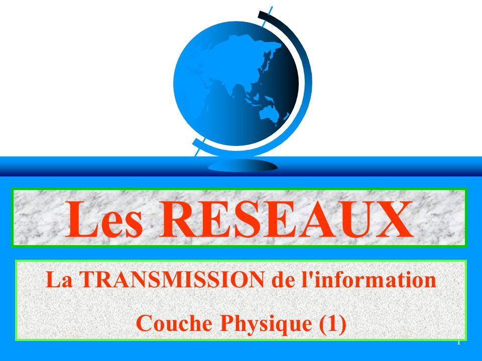 1 Les RESEAUX La TRANSMISSION de l'information Couche Physique (1)