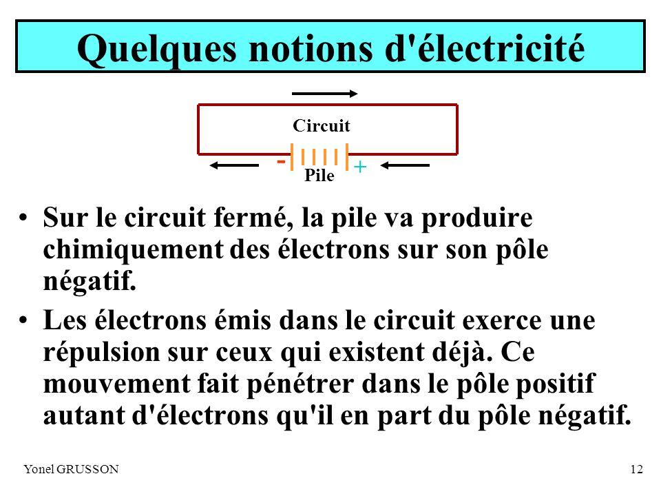 Yonel GRUSSON12 Quelques notions d'électricité Sur le circuit fermé, la pile va produire chimiquement des électrons sur son pôle négatif. Les électron